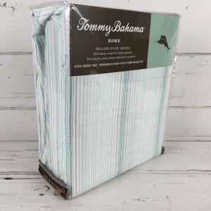 Tommy Bahama King Sheet set stone washed striped
